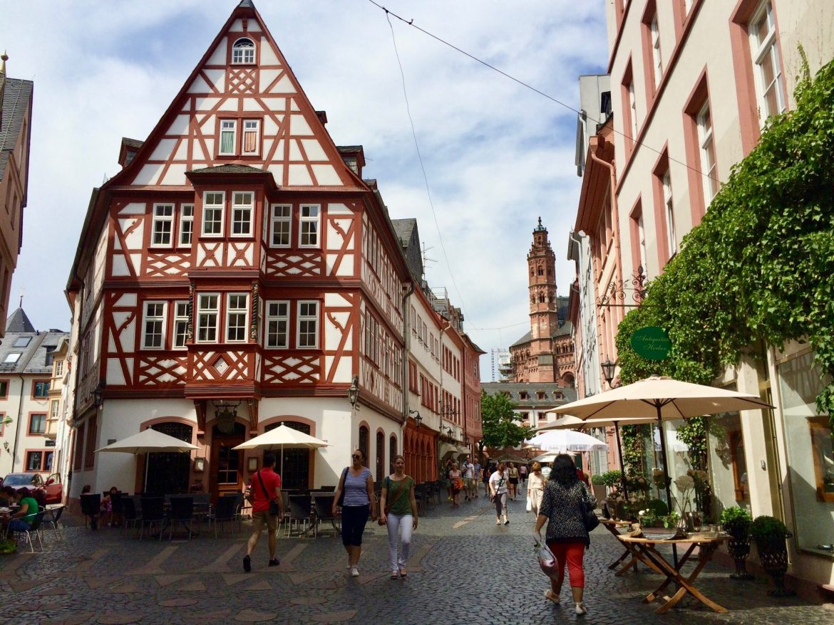 Half-timbered houses in Mainz, Germany
