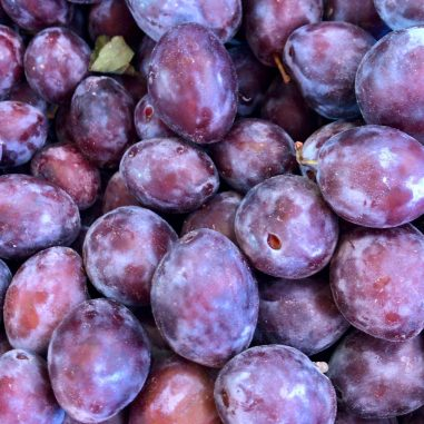 A close up of plums from above