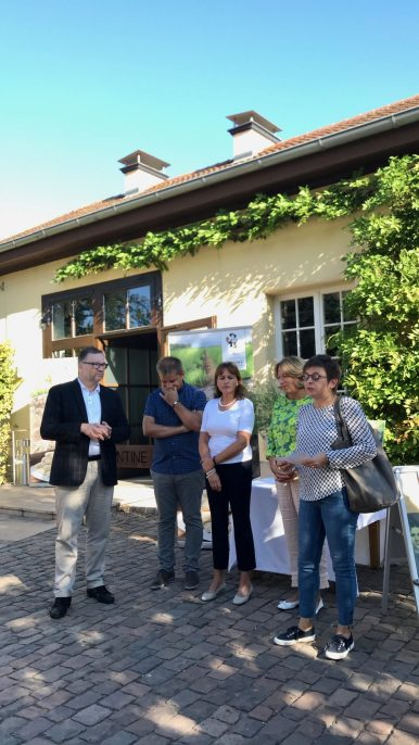 Five people standing in front of a vine-covered building in the sunshine