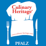 Culinary Pfalz logo, white chef's hat on a blue background