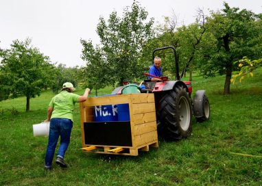 A man on a tractor in an orchard with a woman with buckets of fruit