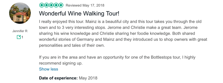 Tripadvisor review of Bottlestops Mainz food and wine tour