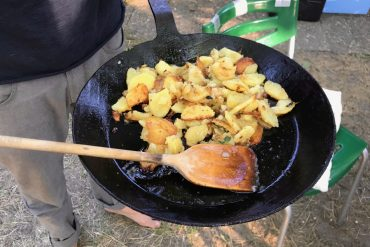 Fried potatoes in a cast iron pan