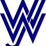 Wiesbadener Jugendwerkstatt logo, blue writing on white