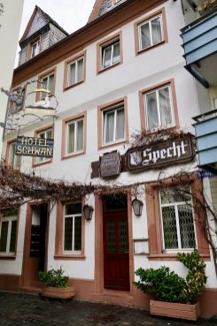 An old white building with Specht written on a large brown sign and empty vines