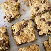 Healthier Oatmeal Peanut Butter Chocolate Chip Breakfast Bars