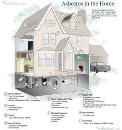 diagram showing where asbestos can be found in the home [ 892 x 980 Pixel ]