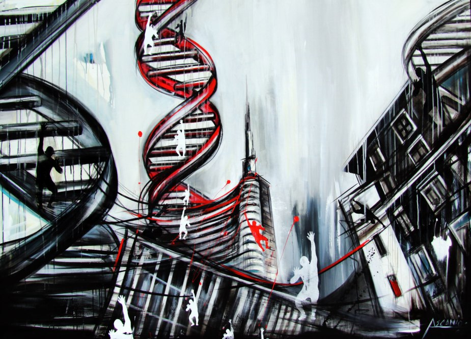 CITTà DNA - Mix on canvas - (Ascanio Cuba)