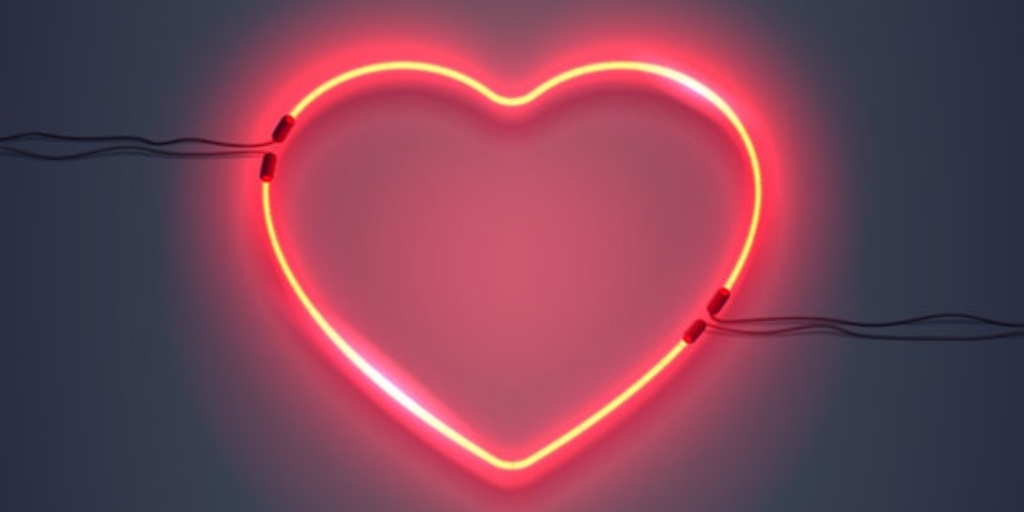 red heart neon electric