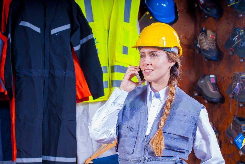 construction woman on phone call