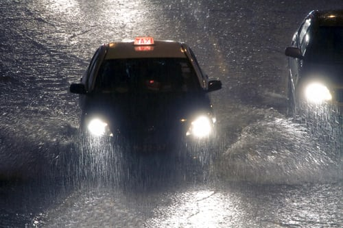 cab caught in flash flood