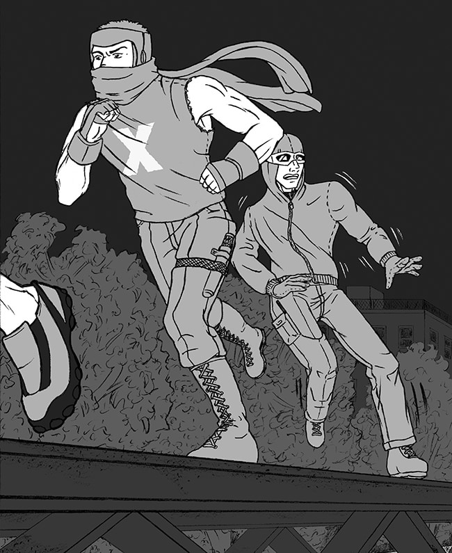 The Mysterious X and Torrent pursue Thorpe. Illustration  by Shell Presto