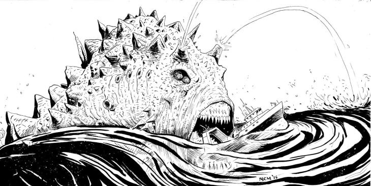 A gigantic, hideous sea monster, covered in horns and spraying geysers of water out of the top of its head prepares to swallow a large boat which it has swamped.