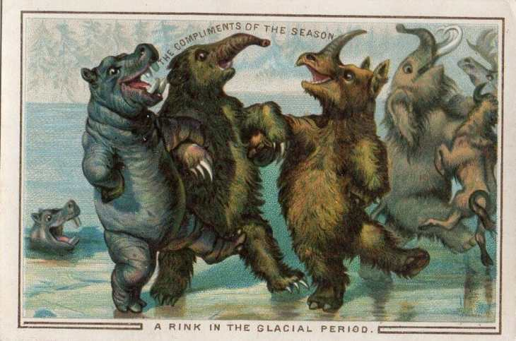 Prehistoric megafauna ice skate in this 1880s postcard.