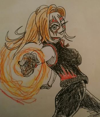 Manga style sketch of Corona, a red-headed heat-controlling superhero, showing off her powers.