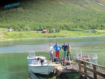 Boat accessed skiing in summer.