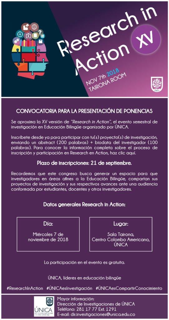 """Convocatoria """"Research in action XV""""  UNICA"""