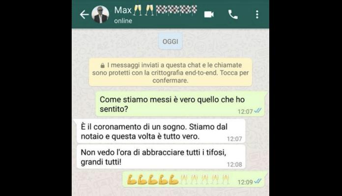Lo screenshot pubblicato da Massimo Pulcinelli sul suo profilo Facebook
