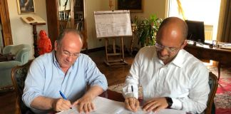 La firma dell'accordo tra il Comune di Ascoli Piceno e Consind