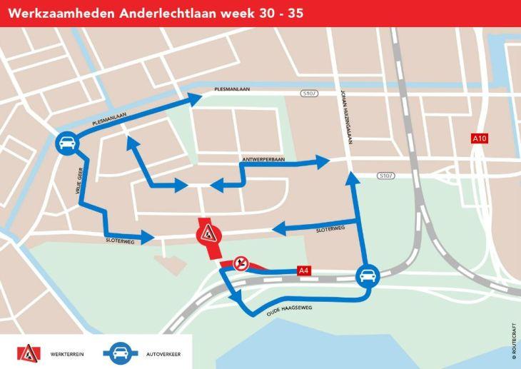 ASC Olympia - Afsluiting rotonde Sloterweg tot oktober
