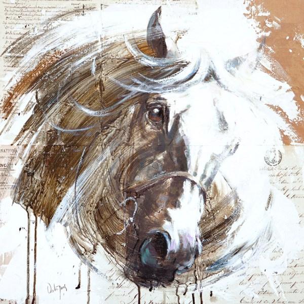 White Horse Limited Edition Racing Print French Equestrian Artist Hubert De Watrigant