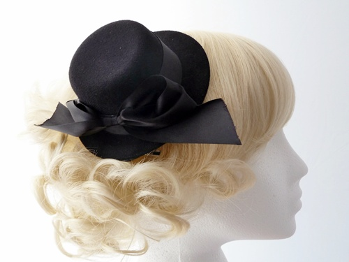 Wedding Hats 4U  Black Mini Top Hat Fascinator