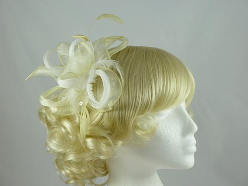 Wedding Hats 4U Light Loops And Leaves Fascinator In Lemon