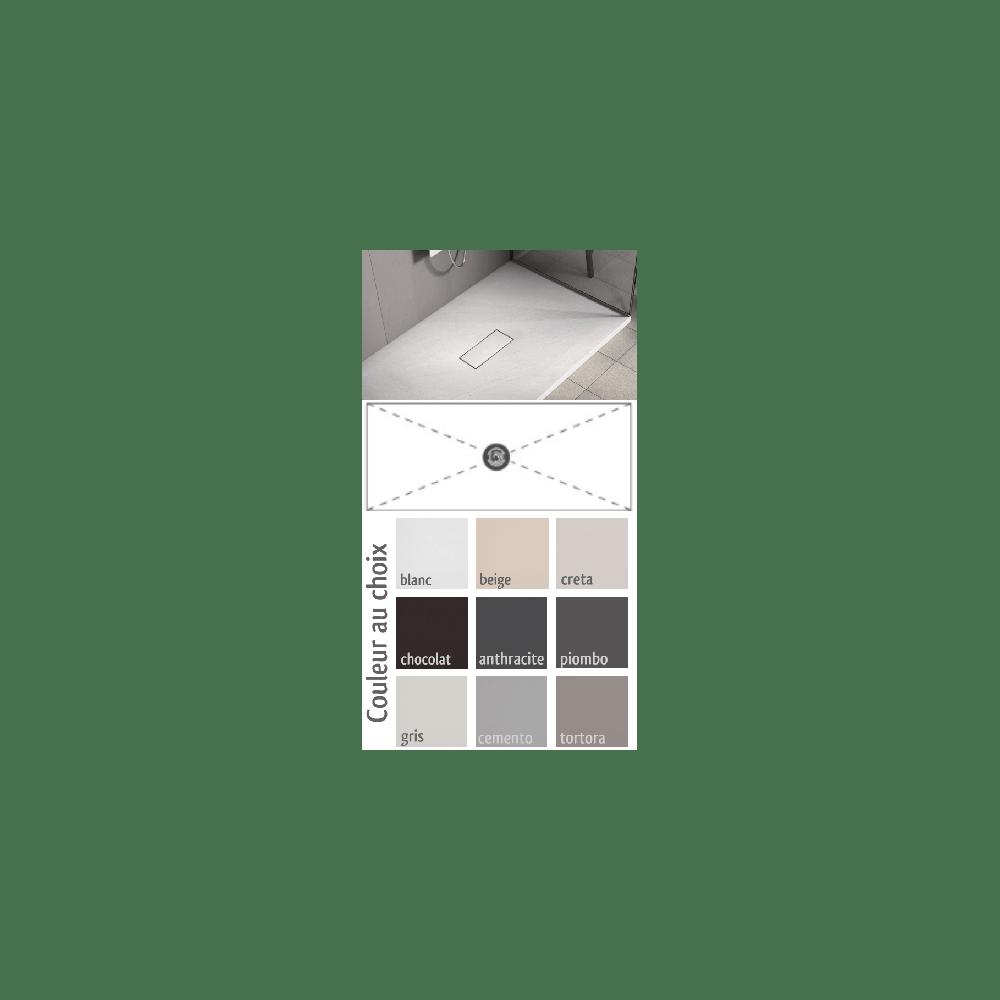 receveur de douche bonde centrale vic tortora a poser ultraplat extra plat personnalisable taille receveur 70 x 100 cm