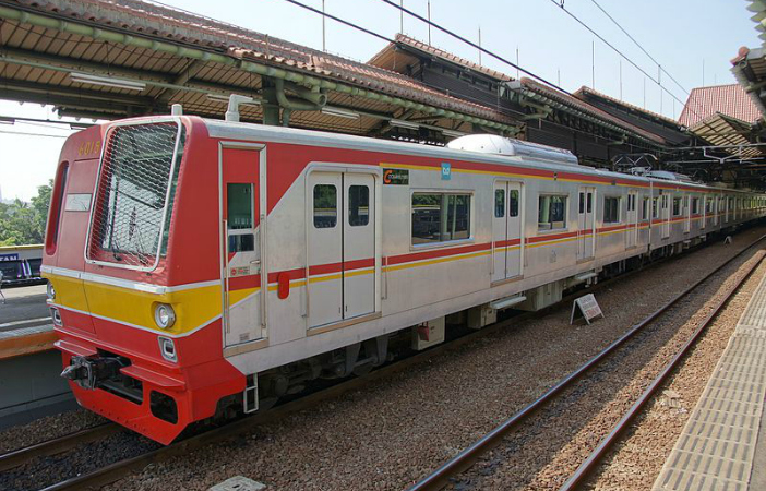 Former Tokyo Metro 6000 series EMU set 6115 at Gambir Station in Jakarta, Indonesia, on a KRL Jabotabek commuter service