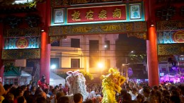 Chinese dragons dance for Chinese New Year in Bangkok