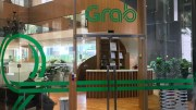 A photo of the front door of the Grab office in Singapore