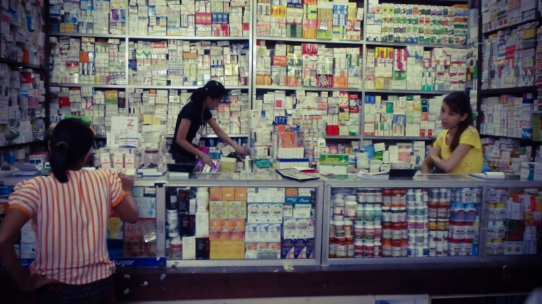 Pharmacy medication shop market stall Yangon