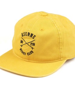 picture of yellow dad cap with black asenne beach club logo in front