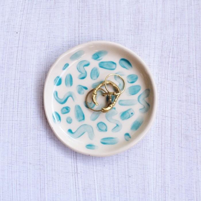 Handmade Ceramic Ring Dish | Teal Doodle
