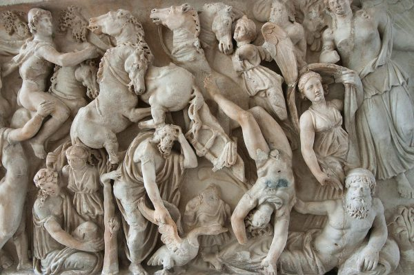 942-08 Marble Relief Sarcophagus Showing Traffic Jam.museum. St.petersburg Russia