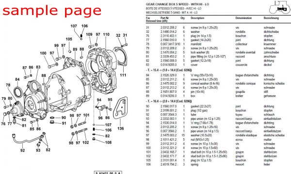 Massey Ferguson 1080 TRACTOR Service Parts Catalogue