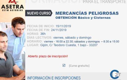 Nuevo curso de Mercancías Peligrosas Obtención básico y cisternas.