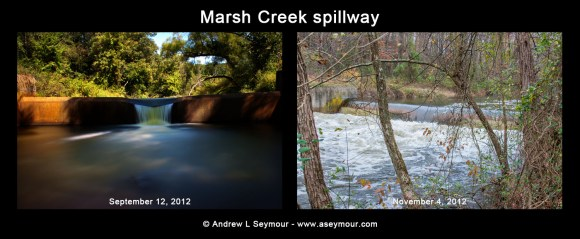 Marsh Creek Spillway comparison (9/12 vs 11/4)