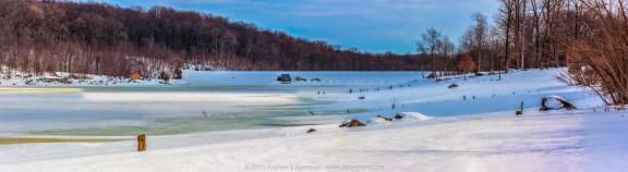 Chambers Lake panorama with Snow (3635x1000)