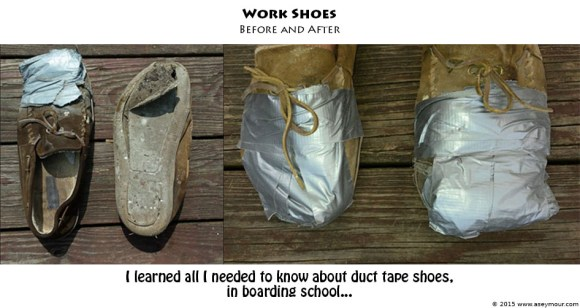 A picture of Before and After of Duct Tape Shoes...