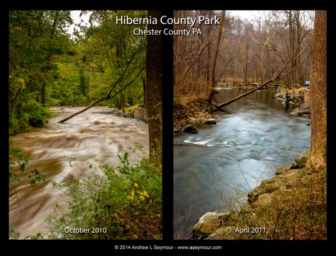 Hibernia Park Oct 10 vs Apr 11 - Two images taken 7 months apart in Hibernia County Park, Coatesville, Chester County PA.