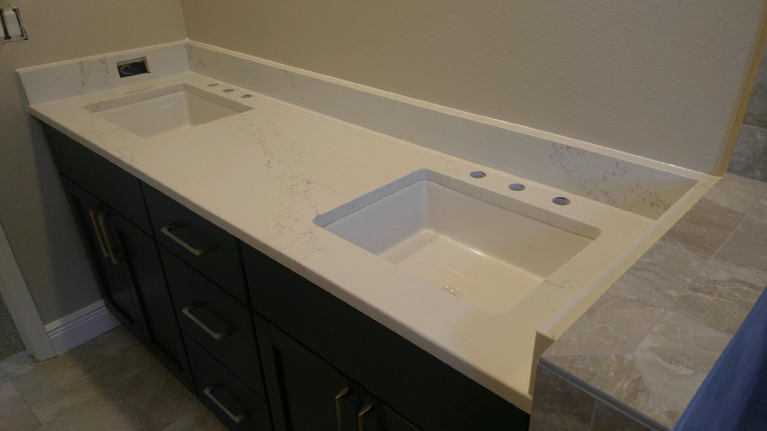 Pompeii Misterio Quartz Bathroom Vanity Countertop Remodel In Tampa Fl