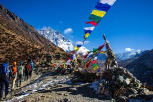 Prayer Flags on mountains.
