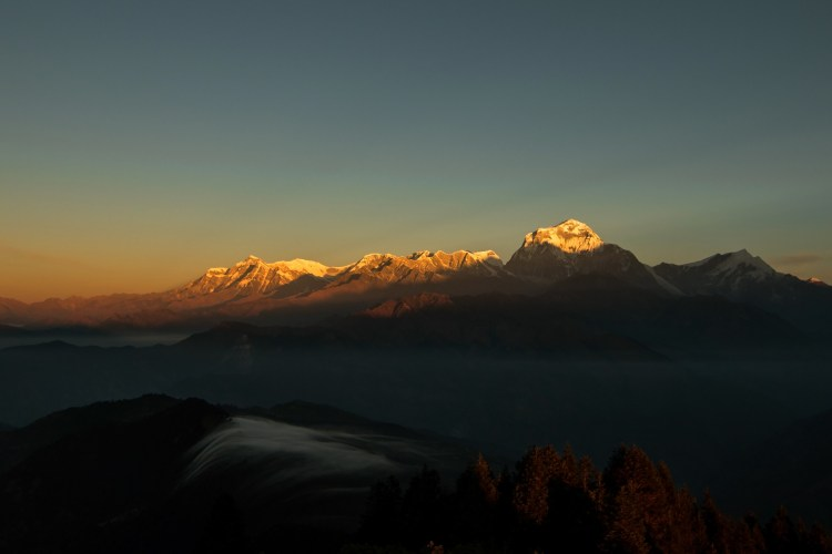 Sunrise above the Himalayas.