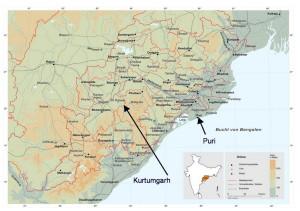 Karte von Odisha mit den Projektstandorten (Foto: Ashakiran)