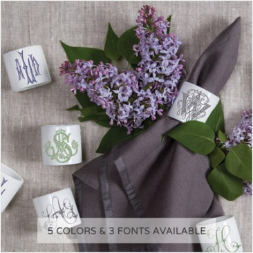 Hostess gifts, porcelain monogrammed napkin rings