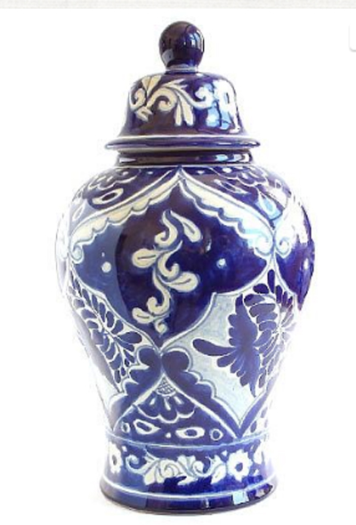 this ginger jar has a mexican decoration called a tabor in spanish it is 14u201d high x 7u201d diameter it is