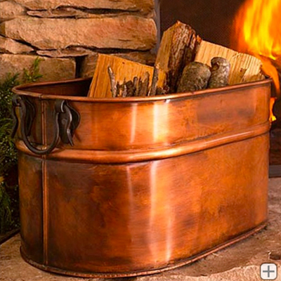 Firewood-storage---copper-plated-oval