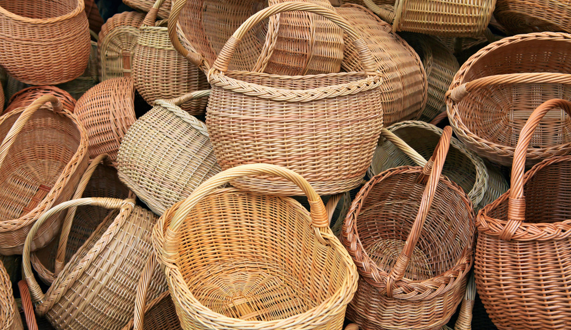 hide clutter in baskets