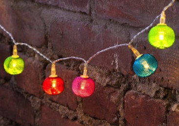 Party String Lights - Mesh battery operated multi colored string lights